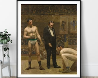 Taking the Count Print - 19th Century Boxing Wall Art, Boxing Art, Boxing Poster, Realism Painting, Gifts for Men, Game Room Decor, Boxer