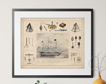 Antique Nautical Print - Vintage Nautical Art, Ship Print, Ship Art, Coastal Wall Art, Maritime Gifts, Coastal Decor, Sailing, Bathroom Art