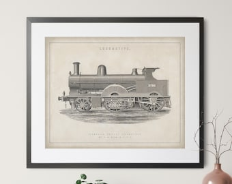 1891 Antique Locomotive Print - Vintage Train Art, Compound Locomotive Art, Steam Train Print, Train Lover Gifts, Railway, Railroad Wall Art