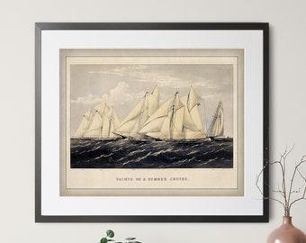 Antique Yacht Print - Vintage Yacht Art, Sailing Print, Sailing Gift, Sailboat Print, Sailboat Art, Sailboat Gift, Sailor, Yachting Wall Art