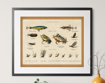 1879 Antique Fishing Flies Print - Vintage Fish Art, Fishing Gifts for Men, Angling Fish Art, Fish Print, Fish Decor, Fisherman Gift, Lures