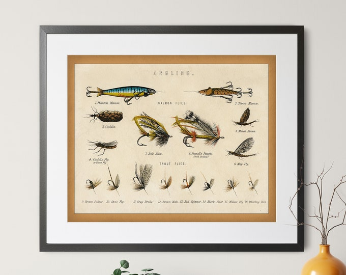 Featured listing image: 1879 Antique Fishing Flies Print - Vintage Fish Art, Fishing Gifts for Men, Angling Fish Art, Fish Print, Fish Decor, Fisherman Gift, Lures