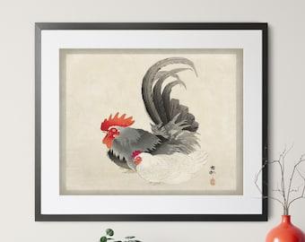 Vintage Japanese Chicken Print, Antique Japanese Art, Rooster Wall Art, Japanese Print, Bird Print, Asian Wall Art, Chicken Art, Kitchen Art