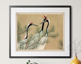 1909 Vintage Crane Print, Japanese Art, Japanese Crane Art, Antique Japanese Print, Bird Print, Bird Art, Asian Wall Art, Bird Painting Gift