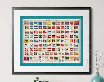 Vintage National Flag Art, World Flag Print, USA Flag Poster, Country Flags, UK Flag, North American, South American, European, Flag Chart