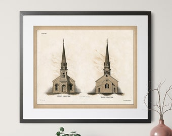 Vintage Church Architecture Print - Antique Architecture Art, Architecture Gift, American Architecture Illustration, Christian Art, Gift