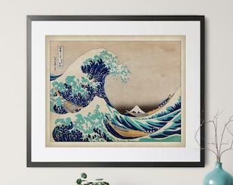 Vintage Japanese Wave Print, Antique Japanese Art, Ocean Wall Art, Japanese Print, Asian Wall Art, Wave Art, Ocean Print, Ocean Art, Coastal
