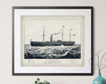 Antique Steam Ship Print - Vintage Ship Art, US Mail Steam Ship, US History Gift, Boat Art, Boat Print, Postal Service, History Buff