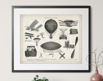 1904 Antique Aeronautical Print - Vintage Aviation Print, Aviation Gift, Aviation Art, Hot Air Balloon, Blimp, Airplane, Pilot Gift, Poster