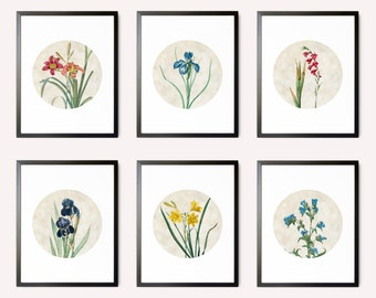 Custom Floral Print Set, Flower Print Panels, Flower Art, Floral Art, Flower Wall Art, Floral Wall Decor, Bathroom Art, Botanical Prints