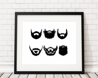 Beard Print - Beard Painting - Beard Art Print - Beard Artwork - Wall Art - Man Cave Decor - Manly Funny Gifts for Him - Gift Ideas for Men