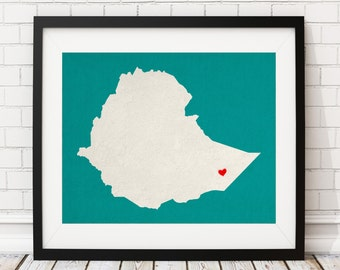 Custom Ethiopia Silhouette Print, Customized Country Map Art, Personalized Gift, Ethiopia Art, Ethiopia Print, Heart Map, Ethiopia Map, Love