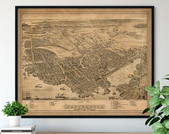 1877 Portsmouth New Hampshire Birds Eye View Print - Vintage Map Art, Antique Street Map Print, Aerial View Poster, Historical Art, Wall Art