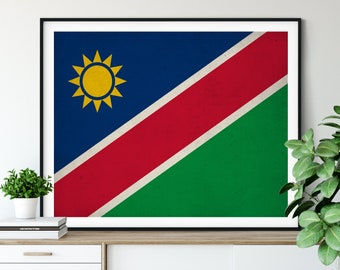 Namibia Flag Print, Namibia Flag Art, Namibia Gifts, Flag Poster, Moving Gift, Vintage Flag Wall Art, Namibia Art, Africa, African Gifts