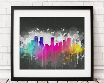 Denver Skyline Print, Denver Art, Denver Print, Watercolor Art, Watercolor Painting, City Prints, Watercolor Skyline, Housewarming Gift Idea