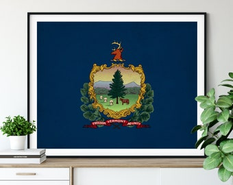 Vermont Flag Art, Vermont Flag Print, State Flag Poster, VT Flag Painting, Living Room Art, State Pride Gifts, Vermont Wall Art, Hallway Art