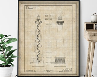 Cape Hatteras Lighthouse Elevation Print - Lighthouse Art, Architectural Drawing, Coastal Wall Decor, Nautical Print, Outer Banks NC, Gift