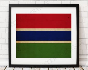 Gambia Flag Print, Gambia Flag Art, Gambian Flag, Gambia Gifts, Flag Poster, Moving Gift, Vintage Flag Wall Art, West African Gifts