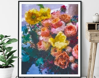 Flowers Print - Floral Oil Painting Poster, Pretty Wall Decor, Flower Bouquet Wall Art, Abstract Roses, Gift for Gardener, Plant Lover Gift