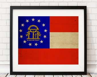 Georgia Flag Art, Georgia Flag Print, Flag Poster, State Flags, Flag Painting, Georgia Print, Atlanta, Housewarming Gift, Georgia Poster