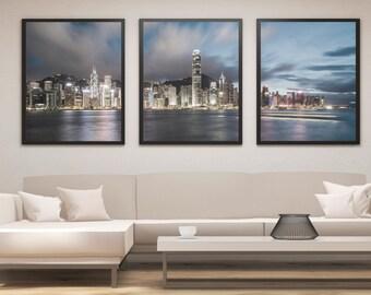 Hong Kong Print Set, Hong Kong Skyline Art, Panel Art, Panel Wall Art, Wall Decor, Large Wall Art, Gift Idea, Cityscape, Skyline Print