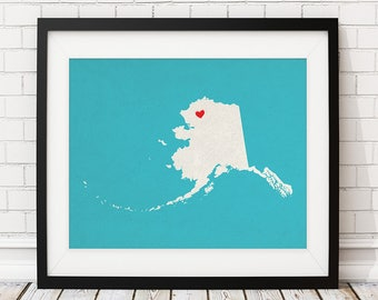 Custom Alaska State Art, Customized State Map Art, Personalized Gift, Alaska Art, Heart Map, Alaska Map, Hometown Love Map, Alaska Print