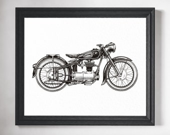 Motorcycle Art Print - Motorcycle Art, Motorcycle Gifts, Motorcycle Print, Motorcycle Poster, Biker, BMW Art, Gifts for Him, Man Cave Decor