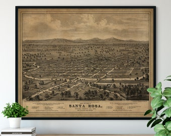 1876 Santa Rosa California Birds Eye View Print - Vintage Map Art, Antique Street Map Print, Aerial View Poster, Historical Art, CA Wall Art