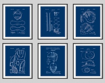 Baseball Patent Print Set, Panel Art, Vintage Patent Art, Baseball Gift, Baseball Decor, Baseball Art, Baseball Print, Poster, Boys Room Art