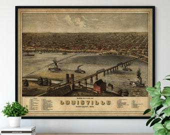 1876 Louisville Kentucky Birds Eye View Print - Vintage Map Art, Antique Map Print, Aerial View Poster, Historical Art, Street Map Wall Art