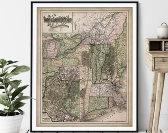 1890 Railroad System Map Print - Vintage Railway Map Art, Antique Map Wall Art, Old Locomotive Poster, Train Buff Gift, Boston Massachusetts