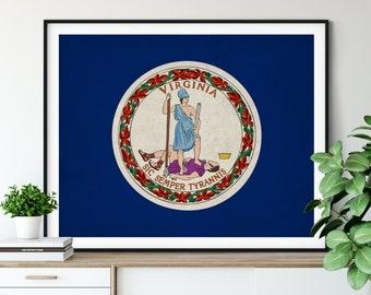 Virginia Flag Art, Virginia Flag Print, State Flag Poster, VA Flag Painting, Living Room Art, State Pride Gifts, Virginia Wall Art, Hall Art
