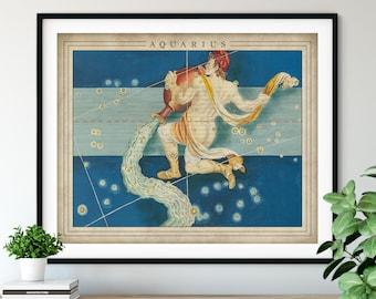 Antique Aquarius Print - Astrology Art, Zodiac Wall Decor, Celestial Wall Art, Horoscope Gifts, Astrological Sign, Constellation Poster
