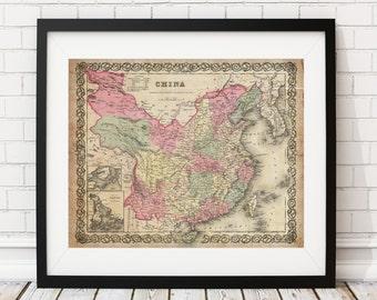 1855 China Map Print, Vintage Map Art, Antique Map, Wall Art, History Gift, Map of China, China Art, Chinese Art, Map Poster, Chinese Gifts