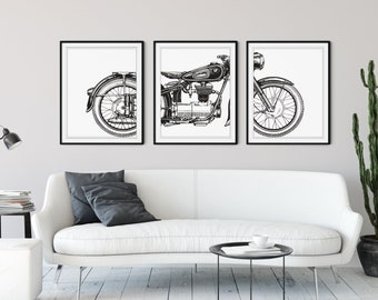 Motorcycle Print Set, Motorcycle Panel Art, Panel Wall Art, Motorcycle Art, Man Cave Wall Decor, Large Wall Art, Gifts for Him, Office Art