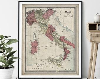 1883 Italy Map Print - Vintage Map Art, Antique Map Wall Art, Old Map Poster, Sardinia, Italian Gift, Malta, Corsica, Naples, Tuscany Sicily