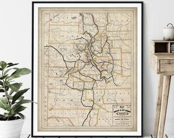 1881 Denver & Rio Grande Railway Map Print - Vintage Railroad Map Art, Antique Map Wall Art, Old Locomotive Poster, Train Buff Gift Colorado