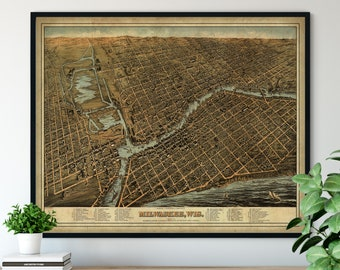 1872 Milwaukee Wisconsin Birds Eye View Print - Vintage Map Art, Antique Street Map Print, Aerial View Poster, Historical Art, WI Wall Art
