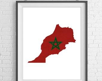 Morocco Flag Map Print, Morocco Map, Morocco Silhouette Art, Housewarming Gift Idea, Poster, Moroccan Wall Art, Map of Morocco, Moroccan Art