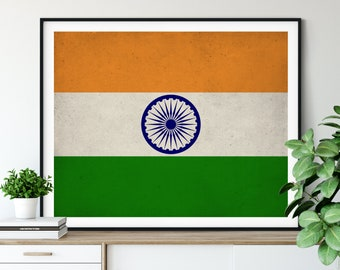 India Flag Art, India Flag Print, Indian Flag Poster, Country Flags, India Poster, India Art, Wall Art, Gift Idea, Indian Art, Wall Decor