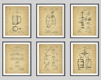 Beer Patent Print Set, Panel Art, Vintage Patent Art, Beer Barrel, Beer Keg, Beer Tap, Bar Art, Bar Decor, Beer Mug, Beer Art, Panel Art