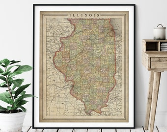 1897 Illinois Map Print, Vintage Map Art, Antique Map, Old Map, Illinois Wall Art, Illinois Art, Illinois Print, Moving Gift, County Map