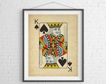 King of Spades, Playing Card Art, Game Room Decor, Game Room Art, Poker Gifts, Gambling Gift, Office Wall Art, Man Cave Art, Bar Decor