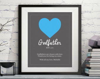 Godfather Art, Godfather Gift, Godfather Poem, Quotes, Godparent Gift, Baptism Gifts for Godfather, Godfather Print, Custom, Personalized