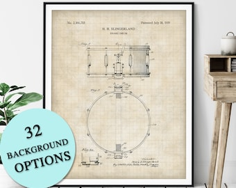 Snare Drum Patent Print - Customizable Blueprint Plan, Gift for Drummer, Drum Poster, Music Room Wall Art, Music Studio Decor, Marching Band