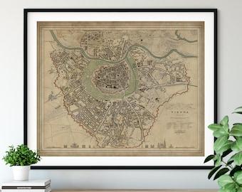 1833 Vienna Austria Map, Vintage Map Art, Antique Map Print, Vienna Map, Old Map, Vienna Print, Vienna Art, Austria Wall Art, Vienna Gift