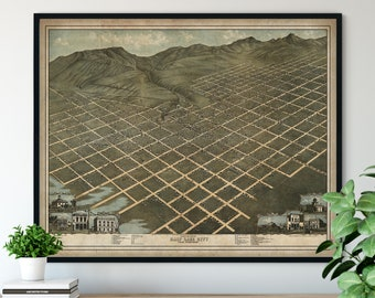 1870 Salt Lake City Utah Birds Eye View Print - Vintage Map Art, Antique Street Map Print, Aerial View Poster, Historical Art, UT Wall Art