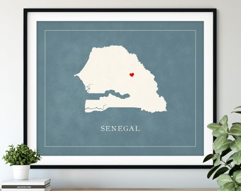 Custom Senegal Map Art, Heart Over ANY City, Customized Country Map Silhouette, Personalized Gift Hometown Love Print Travel Heart Map Decor