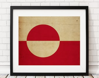Greenland Flag Art, Greenland Flag Print, Flag Poster, Country Flags, Greenland Painting, Flag Painting, Housewarming Gift, Gifts for Him
