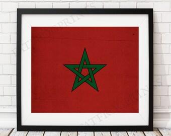 Morocco Flag Print, Morocco Flag Art, Moroccan Flag, Morocco Gifts, Flag Poster, Moving Gift, Vintage Flag Wall Art, Moroccan Art, Morrocco
